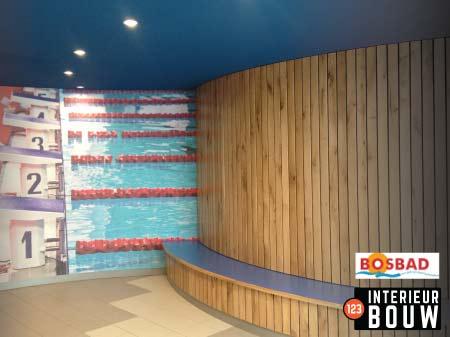 Zwembad houten wand Interieur bouw zitbank eiken